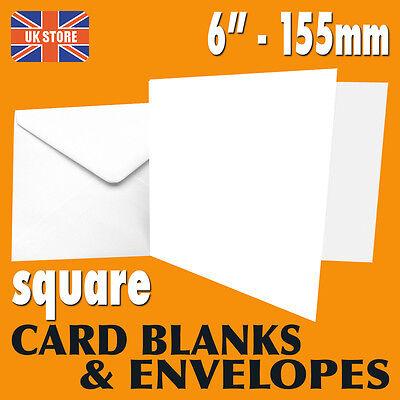 "White 6 x 6"" 155mm Square Card Blanks & Envelopes - 25's 50's 100's FREE P&P"