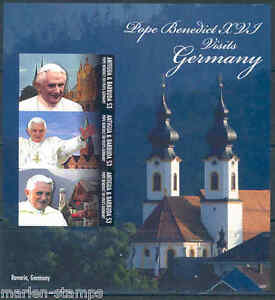 ANTIGUA POPE BENEDICT XVI IMPERFORATED SHEET VISIT TO GERMANY PART II MINT NH