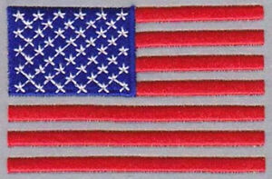 REFLECTIVE AMERICAN USA FLAG RED/W EMBROIDERED 3 INCH PATCH