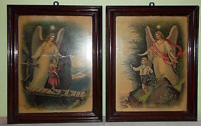 2  Schlafzimmerbild-Heiligenbild-Farbdruck im Holzrahmen-Kind-Engel-Spruch