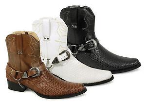 Mens Short Ankle Length Buckle Snake Skin Full Zip Western Cowboy ...