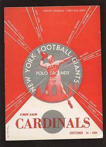October 14 1951 NFL Football Program Chicago Cardinals at New York Giants EX