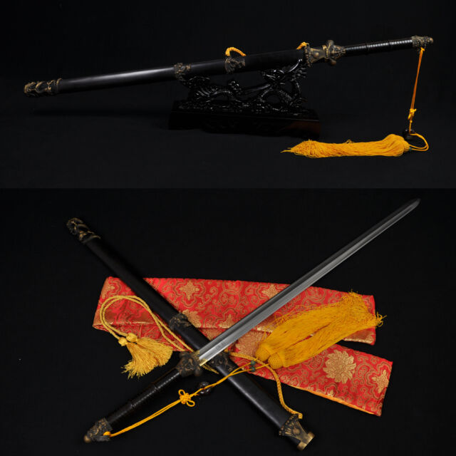 HIGH QUALITY HAND MADE CHINESE DRAGON SWORD JIAN (龍之劍) FOLDED STEEL BLADE