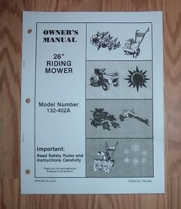 MTD-132-402A-RIDING-MOWER-OWNERS-MANUAL-ILLUSTRATED-PARTS-LIST