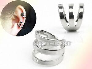 Silver-Plated-Triple-Helix-Ear-Cuff-Clip-Wrap-Unisex-Punk-Earring-Ears-Piercing