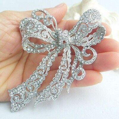 "4.13"" Bridal Wedding Bowknot Brooch Pin Pendant Clear Austrian Crystal 05823C1"