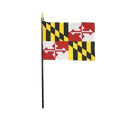 "Maryland State Indoor Hand Waving Desk Top Miniature Fabric Flag 4"" X 6"""