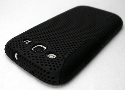 NEW Black Rubberized Hard Mesh Combo Case Cover SAMSUNG GALAXY S III 3 S3 SIII