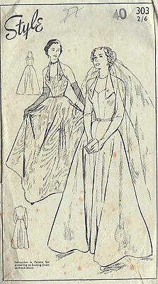 "1940s Vintage Sewing Pattern B40"" WEDDING & EVENING DRESS (R583)"