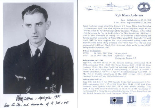 UB8 Knights Cross WWII WW2 U-boat Captain ANDERSEN hand signed photograph