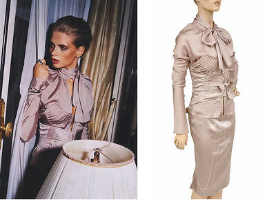 EXCEPTIONAL AND VERY RARE TOM FORD for GUCCI CORSETED NUDE DRESS SKIRT SUIT