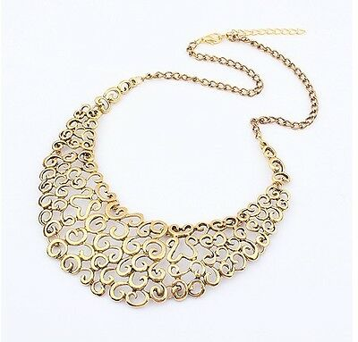 Hot New Design Punk Gothic Vintage Cute Hollow Flower Bronze Bib Collar Necklace