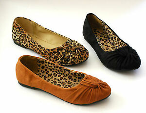Women-Ballet-Flats-Low-Heel-Animal-Print-Fux-Suede-Round-Toe-NEW-Black-Shoes