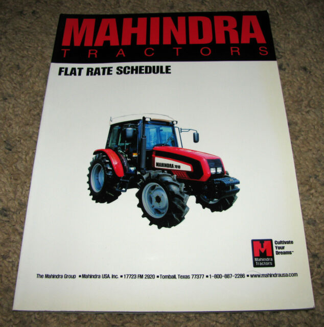 Mahindra Tractor Series 10 4510 7010 Cab Flat Rate Manual