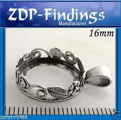 2pcs Round 16mm Flowers Bezel Cup For Setting Sterling Silver 925 (8430)