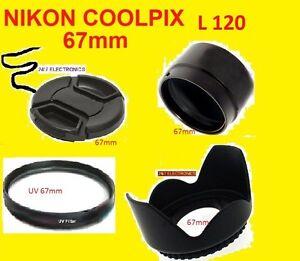 CAMERA-ADAPTER-L120-UV-FILTER-LENS-CAP-HOOD-67mm-For-NIKON-Coolpix-L120-67-mm