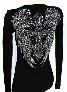 RHINESTONE-WINGED-CROSS-RIBBED-JUNIOR-V-NECK-SHIRT-NEW-WINGS-TOP-S-M-L-3XL-USA
