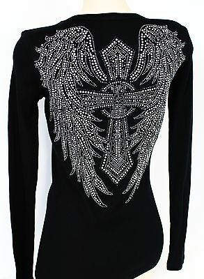 RHINESTONE WINGED CROSS RIBBED JUNIOR V NECK SHIRT  NEW  WINGS TOP S M L 3XL USA