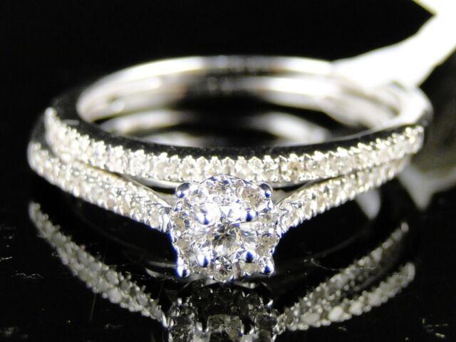 10K WHITE GOLD LADIES CLUSTER BRIDAL ENGAGEMENT WEDDING BAND DIAMOND RING SET