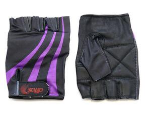 Purple-Striped-Cycling-Workout-Gym-Padding-Black-Leather-Gloves-Size-L-New