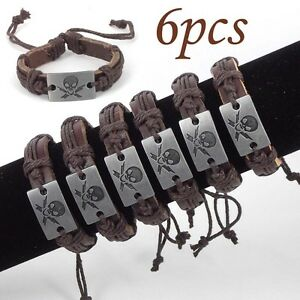 Wholesale-lot-6pcs-Men-039-s-Skull-Hemp-Leather-Bracelet-Gift