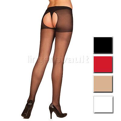 Sexy Hosiery Sheer Crotchless Pantyhose Nylons O/S & Plus Size