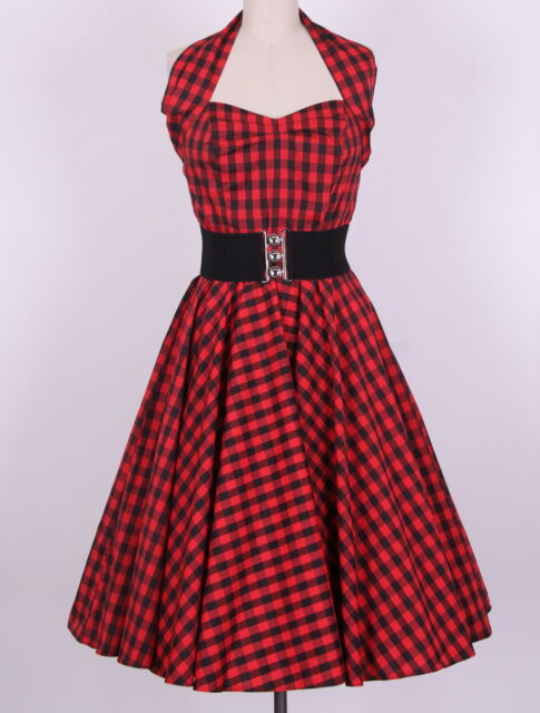 50s  black red Gingham  Dress Size S-4X  Pinup  Swing rockabilly