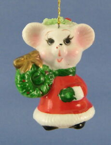 Mouse Christmas Tree Ornament Red White Dress Green Wreath ...
