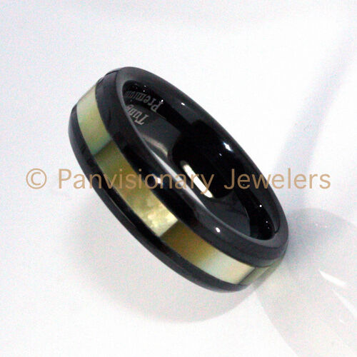 Tungsten Carbide Ring Black IP Golden Mother of Pearl Inlay 8MM Wedding Band