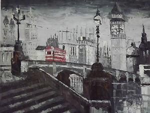 london-street-red-bus-oil-painting-canvas-cityscape-modern-black-white-original