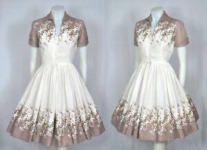VINTAGE-1950-WHITE-amp-TAN-COTTON-EMBROIDERED-FULL-SKIRT-SHIRT-WAIST-DRESS