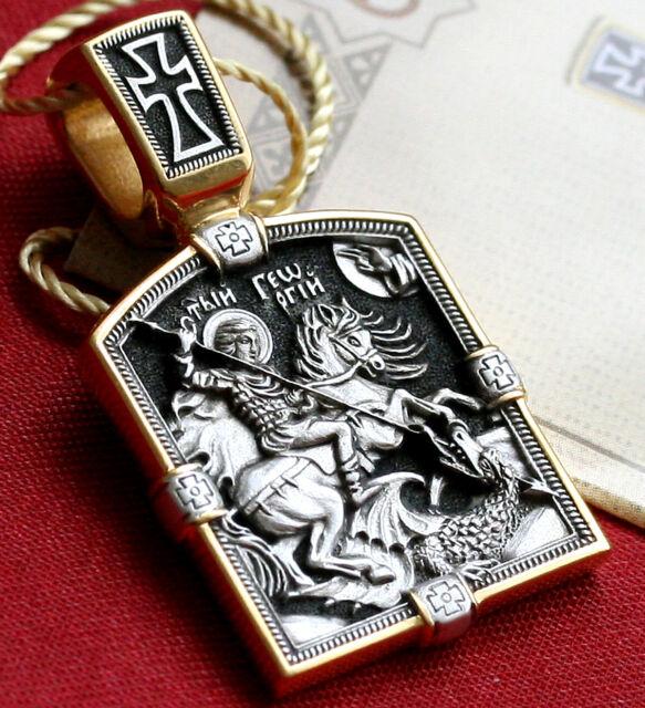 ORTHODOX RUSSIAN GREEK ICON PENDANT-SAINT GEORGE GREATMARTYR,SILVER 925+999 GOLD