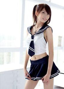 Cute Top Skirt Set High School Girl Uniform Costume For