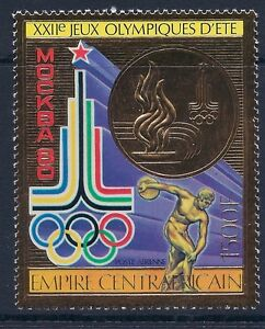 Central Africa 1980 - Sports Summer Olympics Games Moscow 80 Gold Foil - MNH