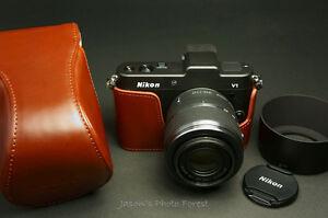 Handmade-Full-Real-Leather-Camera-Case-for-Nikon-V1-For-10-30mm-f3-5-5-6-Lens