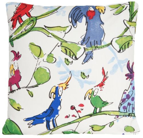 Cushion Cover Fabric Cotton Cockatoos Quentin Blake Birds Jungle Blue Green Red