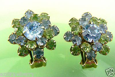Vintage Fantastic Gold tone Blue Green crystal Rhinestones clips earrings