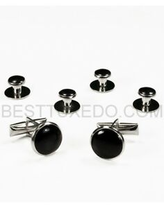 Silver black cuff links studs sets ebay for Tuxedo shirt without studs