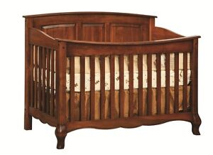 Image Is Loading Amish Baby Crib Solid Wood Nursery Furniture Conversion