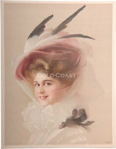 1910-Victorian-Print-Woman-w-Veil-amp-Feathered-Hat