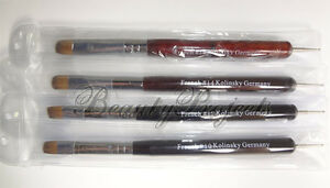 Nail-Polish-Art-French-Brush-10-12-14-amp-16-with-Dotting-Pen-New-Packaging