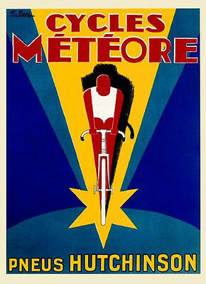 Bicycle Cycles Meteore Tires Hutchinson Bike Race Vintage Poster Repro FREE S/H