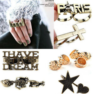 Fashion-Retro-Punk-Vampire-Fangs-Teeth-Paris-Eiffel-Tower-Double-Two-Finger-Ring