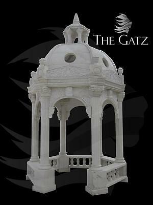 Large Custom Designed Marble Garden Gazebo,Domed with Railings and Fluted Colums