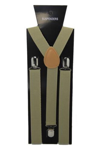 Mens Boy Braces Adjustable Multi Fit Elastic Y Shape 25mm Black Green Beige Blue