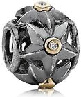 Genuine PANDORA Oxidized Sterling Silver Stella with 14K Gold and Diamond Charm 790856D - 5700302098341