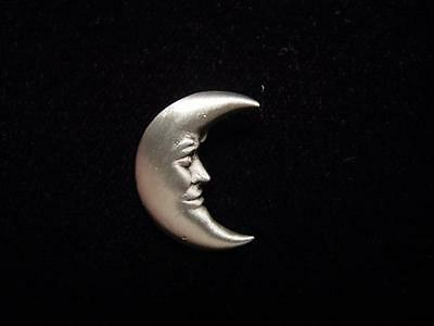 """JJ"" Jonette Jewelry Silver 'Half Moon ~ Celestial' Tac Pin"