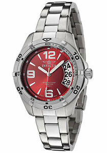 Invicta-II-Women-039-s-Sport-Red-Dial-Polished-Stainless-Steel-Watch-Swiss-Quartz