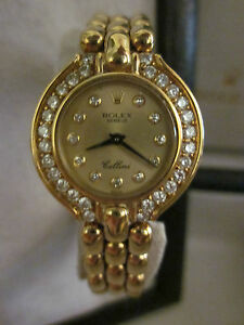 Cellini-Rolex-18-K-gold-ladies-diamond-bezel-watch