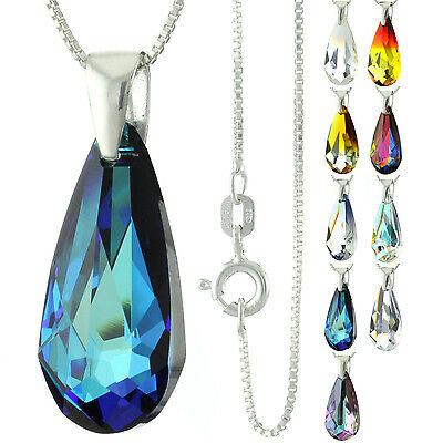 925 Sterling Silver Faceted Teardrop Bermuda Blue Crystal Pendant Necklace